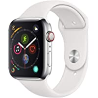 Apple Watch Series 4 (GPS + Cellular, 44mm) Stainless Steel Case with White Sport Band