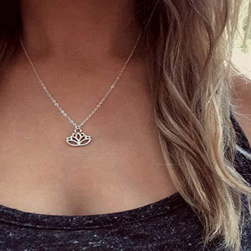 TseenYi Collar con colgante de loto y cadena con colgante de estrella, luna, collar ajustable para yoga y clavícula, joyería para mujeres y niñas (plata)