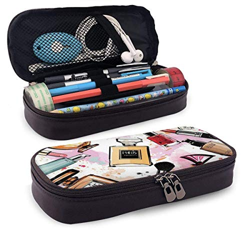 shenguang Makeup Fragrance PU Leather Pencil Case School Office Use Zipper Stationery Organizer