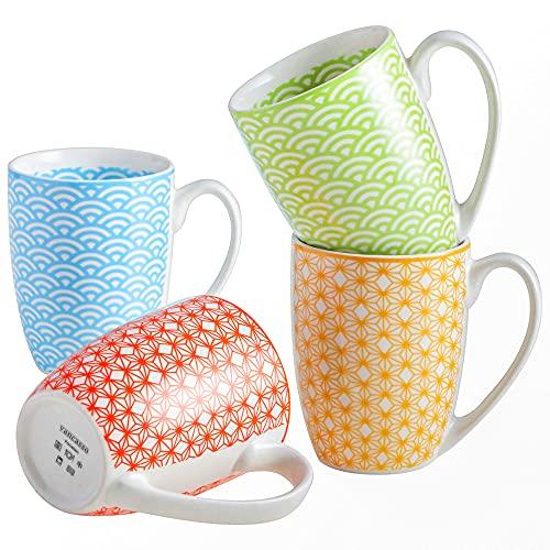 Tafelservice, vancasso NATSUKI Kaffeetassen aus Porzellan, 4-teiliges Tassen Set, 300 ml Kaffeebecher mit Henkel