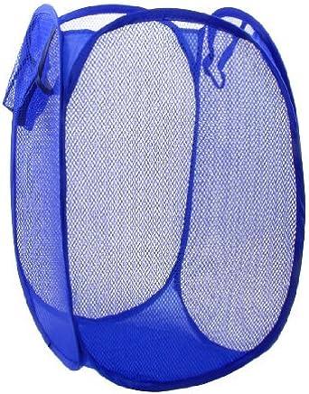 eDealMax Meshy vêtements Design de stockage Panier à linge Hamper Bleu