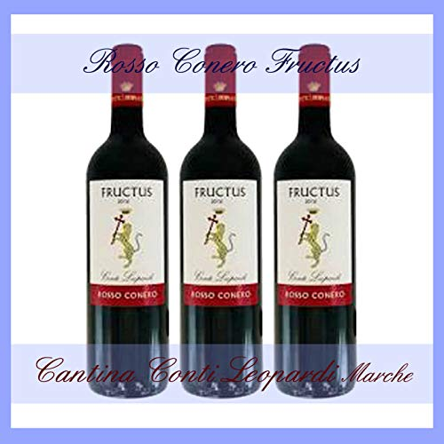 3x FRUCTUS ROSSO CONERO DOC 0,75 l. cantina Conti Leopardi Marche