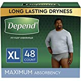 Depend FIT-FLEX Incontinence Underwear for Men, Maximum Absorbency, Disposable, Extra-Large, Grey, 48 Count (2 Packs of 24) (Packaging May Vary)