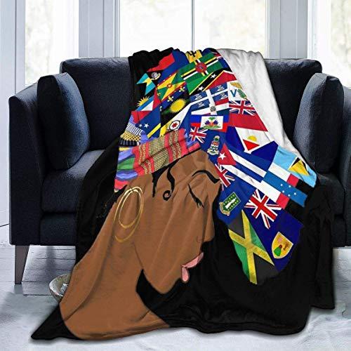 FETEAM Afroamericana Melanina Africana Negra Maravilla Bandera Pelo Ultra Suave Manta de Lana Peso Ligero Lujoso y Esponjoso Manta de Felpa para Cama Sofá Sala de Estar