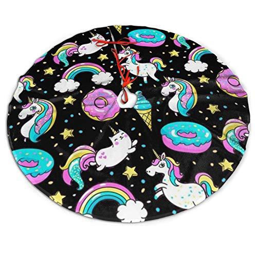 SYDIYIWL Regenbogen Einhorn Donut Eis Weihnachtsbaum Rock 91,4 cm Baum Rock für Weihnachten Urlaub Baumschmuck