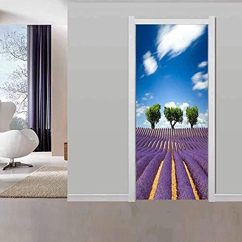 thetobea Tür Tapete Selbstklebende Tür Poster Türaufkleber 3D Lavendel Blumenkasten Wohnzimmer Schlafzimmer Badezimmer Wasserdicht beweglich 77X200CM