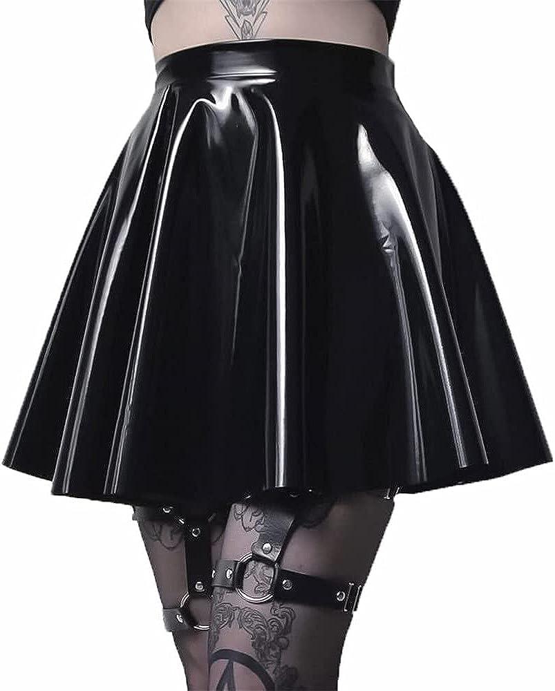 Tangduner PU Leather Skirt for Women Black Gothic Pleated Short Mini Skater Skirt