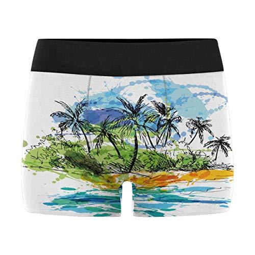 INTERESTPRINT Mens Boxer Briefs Underwear Cute Palm Tree Doodle L