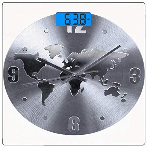 Escala digital de peso corporal de precisión Square Decoración del reloj Báscula de baño de vidrio templado ultra delgado Mediciones de peso precisas,Un patrón de reloj plateado con un mapa mundial qu