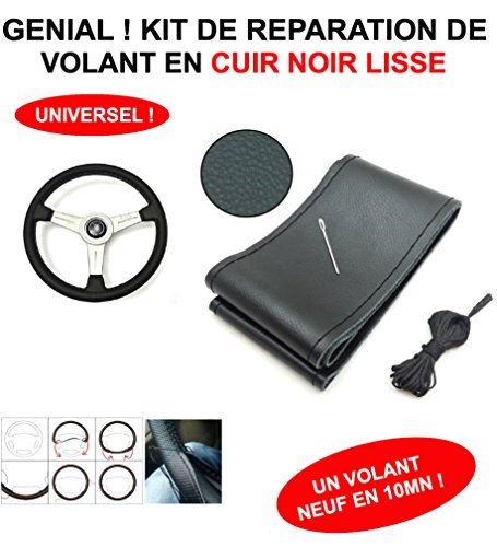 Genial. Smooth. A new Wheel in 10Minutes. Vintage Look Black Leather Steering Wheel Repair Kit. Suitable for all vehicles Old RECENTS