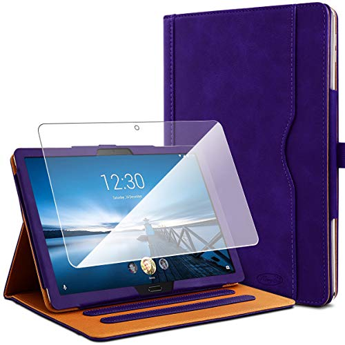 KARYLAX Pack of Protective Case Purple + 1 Tempered Glass Screen Protector for Lenovo Tab M10 HD 10.1 Inches