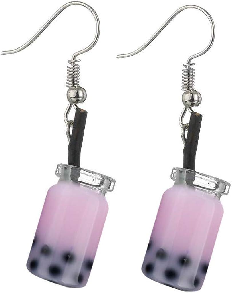 Cnebo Fashion Pearl Milk Tea Dangle Earrings Womens Cute Pendant Funny Earrings Personality Milk Tea Drink Earring Party Jewelry