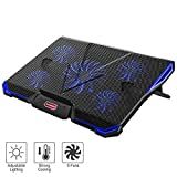 Nobebird Laptop Cooler, Laptop Cooling Pad with 5 Quiet Fans for 12-17.3 Inch