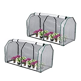 """Lynslim mini greenhouse, 48"""" x24x 21. 6"""",pe cover,large zipper doors,indoor outdoor garden green house flowerpot cover 1 high quality:environmentally friendly pe material, waterproof and sun-drying, good thermal insulation effect, non-toxic and tasteless,strong and durable. Excellent light penetration rate ensures adequate sunlight and heat preservation. It will considerably extend your planting time. Mini sised greenhouse: 48""""x24x""""21. 6"""", enough space for your houseplant ,plant pots & seed beds. Zipped doors: zipped doors is easy to access as well as good ventilation and humidity."""