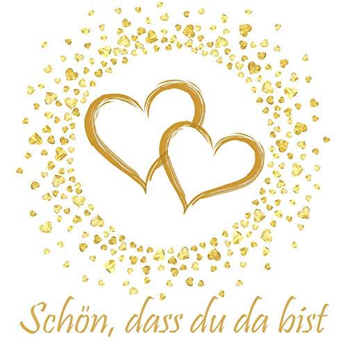 20 Servietten Schön, dass du da bist | goldene Herzen für die Hochzeit und Goldhochzeit 33x33cm