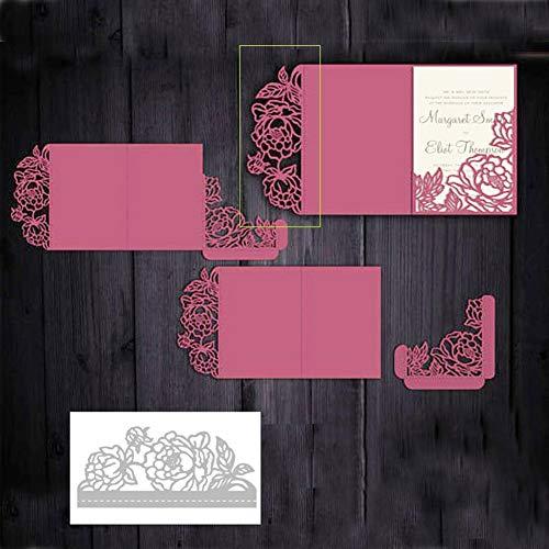 CA0boluoC - Troqueles de corte, diseño de rosas, para manualidades, álbumes de recortes, tarjetas, decoración de cajas de regalo, plantilla de grabado en relieve de metal, color plateado