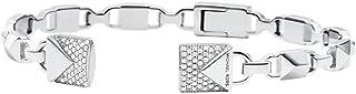 Women's Precious Metal-Plated Sterling Silver Pav¿ Open Hinge Bangle Bracelet