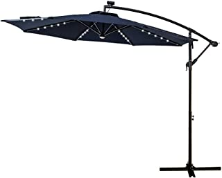 FLAME&SHADE 10' LED Light Cantilever Offset Patio Umbrella Market Style with Solar Lights for Large Outside Table or Garden, Navy Blue