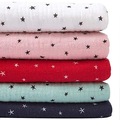 LILIJD Telas Infantiles Cotton Star Impresión Doble Gauze, Tela De Ropa De Algodón, Tela De Muñeca, Tela De Cortina, Material DIY(Color:Blanco)