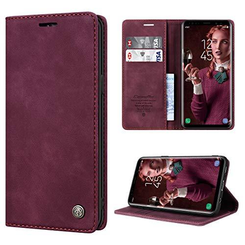 RuiPower Handyhülle für Samsung Galaxy S9 Hülle Premium Leder PU Flip Case Magnetisch Klapphülle Wallet Lederhülle Silikon Bumper Schutzhülle für Samsung Galaxy S9 Tasche - Wein Rot