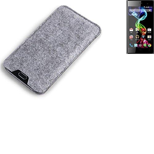 K-S-Trade® Filz Schutz Hülle Für Simvalley Mobile Pico RX-482 Schutzhülle Filztasche Filz Tasche Case Sleeve Handyhülle Filzhülle Grau