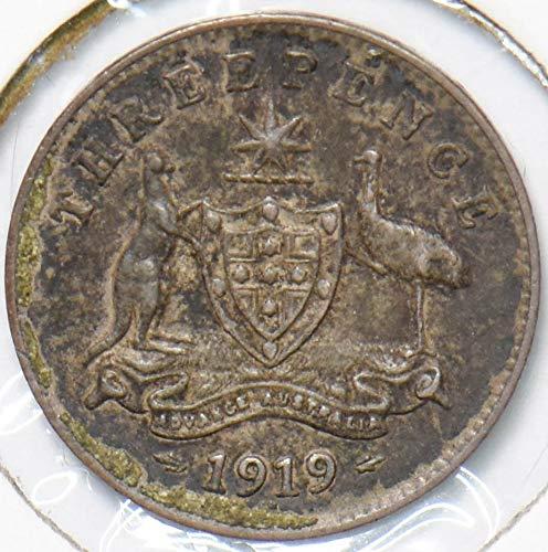 1919 AU Australia 1919 3 Pence Kangaroo animal Ostrich Georgivs...