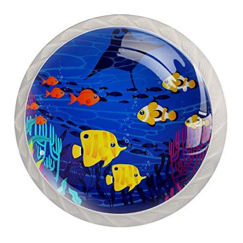 Pomos de cajón Infantil Azul bajo el agua Perilla de cajón Redondo Perilla de puerta Multicolore Pomo para muebles Cristal Tiradores de Armario 4 Piezas Para infantil Bebe 3.5×2.8CM