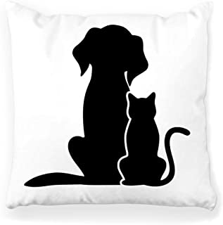 Toobaso Decorative Throw Pillow Cover Square 18x18 Silhouette Dog Cat White Icon Pet Isolated Outline Animal Black Contour Cute Domestic Feline Graphic Home Decor Zippered Pillowcase