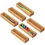mDesign Juego de 6 cajas organizadoras para la cocina – Caja rectangular de bambú para ordenar cajones – Organizador de madera apilable para guardar cubiertos y utensilios de cocina – color natural