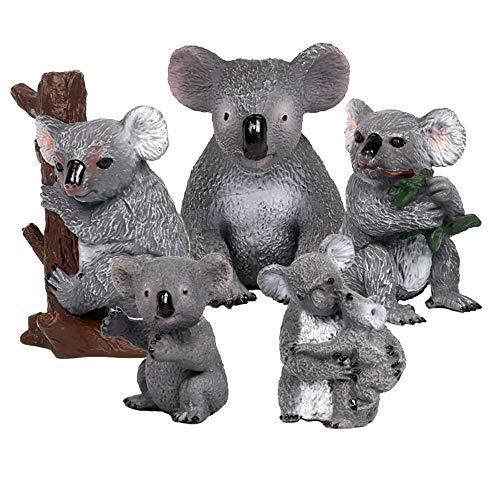 FLORMOON 5 Piezas de Figuras de Animales de la Familia Koala Realistic Juguete Animal Animal Figure Early Educational Toys Science Project Christmas Birthday Gift for Kids