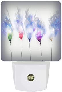 Plug-in Night Lights Rose Pollen Flying in The Air Flower Starry LED Night Lamp with Auto Dusk-to-Dawn Sensor Warm White Light& Ultra Low Power for Bedroom/Bathroom/Hallway/Kid's Room