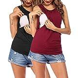 VOOMALL Damen Stilltop Ärmellose Frauen Pflege/Geburt/Krankenhaus Umstandsnachthemd Stillnachthemd für Schwangere 2pcs, XL