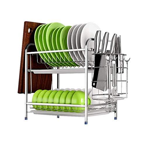 LQH Cocina de Acero Inoxidable de Purga Vaso Rack, Simple Armario Armario hogar de múltiples Funciones del Estante Vajilla