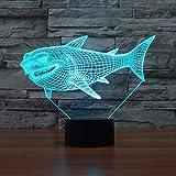 3D Lampe Illusion Optique LED Veilleuse requin, 7 Couleurs Tactile Lampe De Chevet...