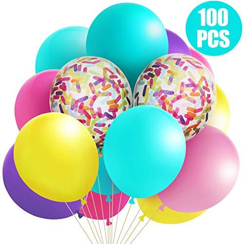 100 Stück EIS Party Luftballons Konfetti Latex Ballons Pastellfarbene Luftballons 12 Zoll Gemischte Farben für Party Hochzeit Braut Duschen Dekorationen