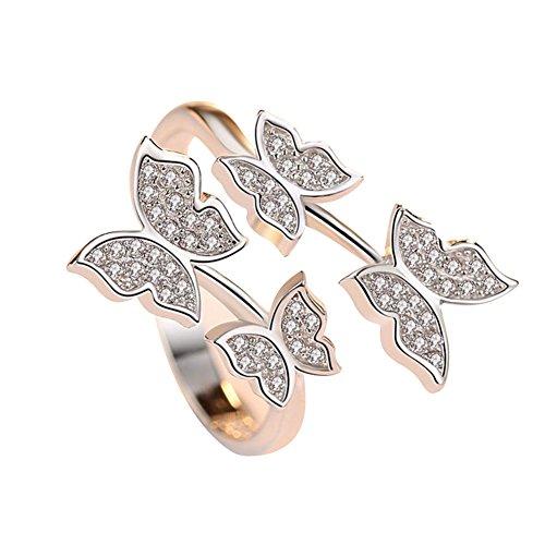 Demarkt Mariposa Diamante Platino Anillo de Moda Anillo de Bodas de Compromiso de Apertura Ajustable Joyería de Regalo Pareja Accesorios