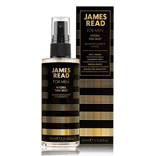 JAMES READ Hydra-Bräunungsnebel Gesicht für Männer 100 ml HELL/MITTEL Feuchtigkeitsspendender, für nach der Rasur, Schnell trocknend mit allmählichem Bräunungseffekt, Bräune hält bis zu 5 Tage