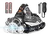 Newlemo Linterna Cabeza, Linterna LED Recargable con 3 Luces - 4 Modos, Ajustable y Cómodo de Llevar...