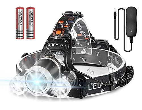 Newlemo Linterna Cabeza, Linterna LED Recargable con 3 Luces - 4 Modos, Ajustable y Cómodo de Llevar, Linterna Frontal Impermeable para Correr, Acampar, Pescar, Andar en Bicicleta ⭐