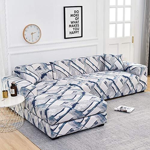 ASCV L-förmige Sofabezüge für Wohnzimmer Elastische Sofabezüge Couchbezug Stretch-Eck-Sofabezug Chaise Longue A21 2-Sitzer