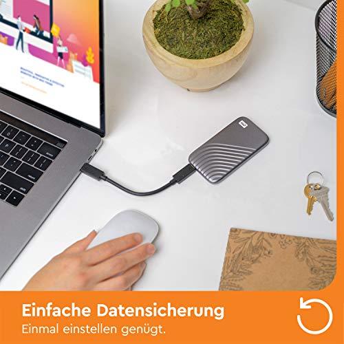 WD My Passport SSD 2 TB externe SSD (externe Festplatte mit SSD Technologie, NVMe-Technologie, USB-C und USB 3.2 Gen-2 kompatibel, Lesen 1050 MB/s, Schreiben 1000 MB/s) dunkelgrau - 8