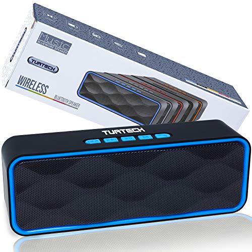 Cassa Bluetooth Portatile 5.0 Altoparlante TUATECH, 12 Watt, Speaker Bluetooth con Microfono, USB, TF Card, AUX, Radio, Stereo Potente. Cassa per Smartphone, Durata 9 ore, Batteria 1200mah, Blue