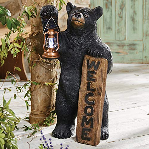 BLACK FOREST DECOR Welcome Bear Solar Lantern Sculpture