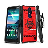 Moriko Case Compatible with Nokia 3.1 Plus [Heavy Duty Armor Full Body Drop Protection Shockproof Kickstand Belt Clip Holster Military Black Case Cover] for Nokia 3.1+ (Red Biohazard)