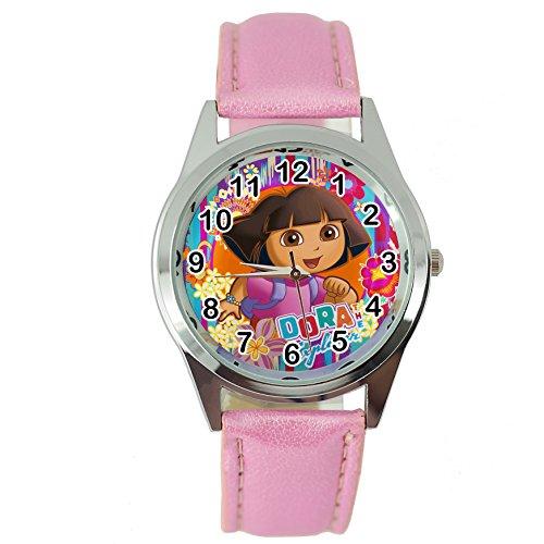 taport® Dora The Explorer Quarzuhr pink Leder Band + Gratis Ersatz Batterie + Gratis Geschenkverpackung