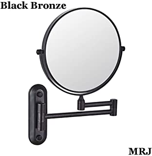 Wall Mounted Mirror, 3/5X Magnification + Normal Bathroom Shaving Mirror Double-Sided Magnifying Makeup Vanity Swivel Mirror, 8 Inch Extendable Arm, Chrome Finished