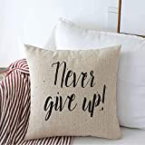 Funda de Almohada Decorative Linen Throw Pillow Cover Message Up Drawn Never Give Sentence Inscription Emotion Expression Graphic Style Hand Inspiration Cushion Case Squaree 24 x 24 Inch