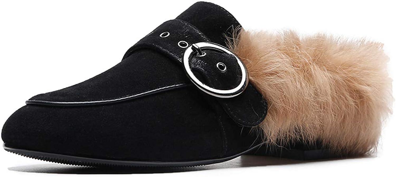 DeANJIE Donna Fannullone Pantofole Inverno Tacco Piatto Sautope Donna Slip On Casual Fibbia Mocassini per 2018 Outdoor