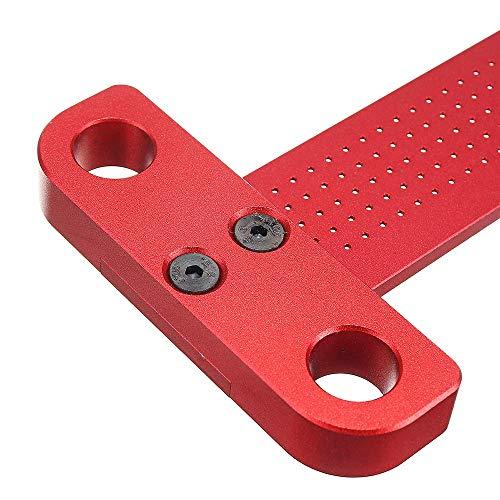 CarAngels木工T型スコヤ直接マーキングできる定規直角型ゲージ測定高精度1mm穴間隔アルミ製大工ケガキ工具(T-260)