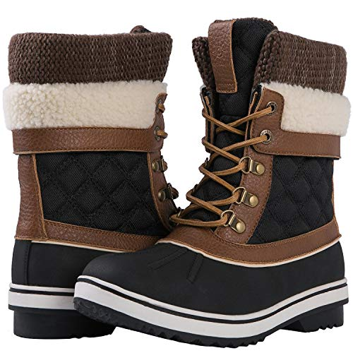 GLOBALWIN Women's Waterproof Winter Snow Boots (8 D(M) US Women's, Black1738)